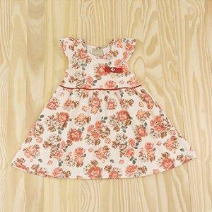 Vestido Off White Flores Coral Infantil Milon