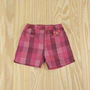 Shorts Sarja Rosa Xadrez Infantil Baby Classic