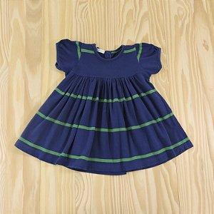 Vestido Azul e Verde Infantil Pinni