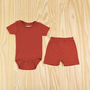 Conjunto Body e Shorts Vermelho Vaquinha Infantil