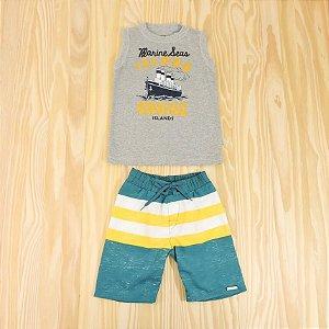 Conjunto Regata Cinza e Bermuda Verde Infantil Rovitex Baby
