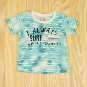 Camiseta Manga Curta Azul e Branca Baleia Infantil Brandili