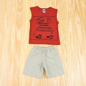 Conjunto Regata Vermelha e Shorts Cinza Infantil Basic Só