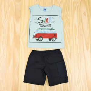 Conjunto Regata Azul e Shorts Azul Marinho Infantil Basic Só