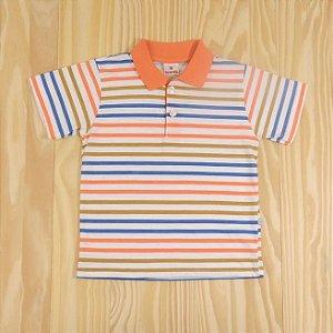 Camiseta Gola Polo Listrada Azul e Coral Infantil Brandili