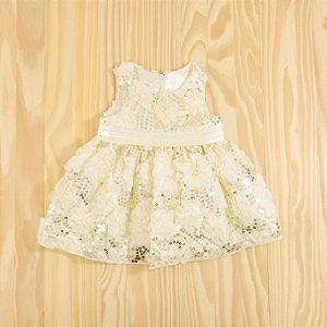 Vestido Festa Off White Paetes Infantil American Princess