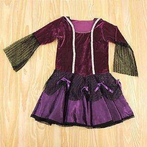 Fantasia Vestido Roxo Veludo Infantil