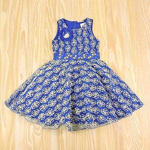 Vestido Azul Royal Bordado Dourado Infantil Petit Cherrie