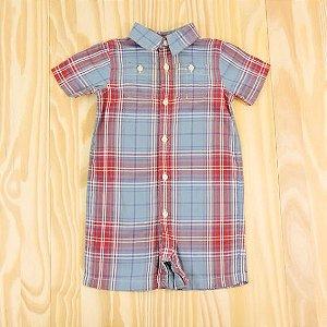 Macaquinho Xadrez Azul e Vermelho Infantil Ralph Lauren