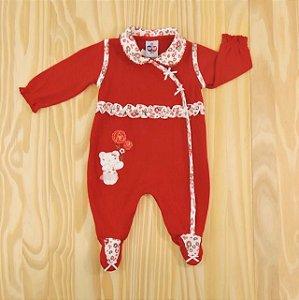 Macacão Vermelho Plush Capuz  Infantil Clube do Dino