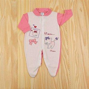 Macacão Branco e Rosa Gatinha Infantil Love Baby