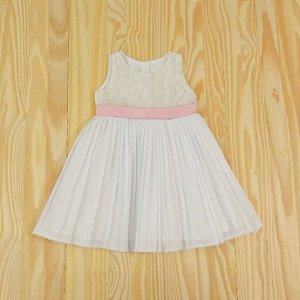 Vestido Festa Branco e Rosa Plissado Infantil Rociclê