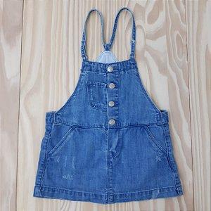 Jardineira Saia Jeans Azul Claro