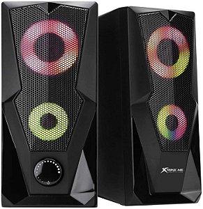 CAIXA DE SOM P2 SK-501 STEREO 2.0 RGB COM ALIMENTACAO USB XTRIKE ME BOX
