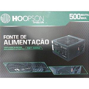 FONTE ATX 500W 20/24 PINOS FNT-500W 2*SATA 2* IDE HOOPSON BOX