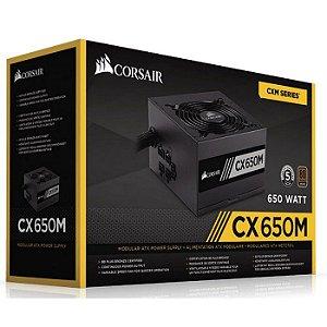 FONTE ATX 650W REAL 20/24 PINOS CP-9020103-BR 6* SATA 3* IDE 80 PLUS BRONZE CORSAIR BOX