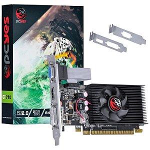PLACA DE VIDEO 2GB GT 710 PA710GT6402D3LP DDR3 64 BITS GEFORCE VGA HDMI DVI-I KIT LP PCYES BOX