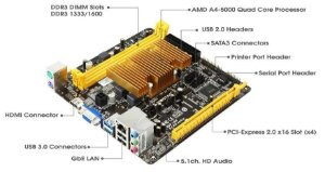 PLACA MAE COM PROCESSADOR MINI-ITX A68N-5100 DDR3 VGA/HDMI BIOSTAR