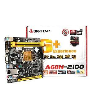 PLACA MAE COM PROC MINI-ITX A68N-2100 DDR3 VGA/HDMI BIOSTAR