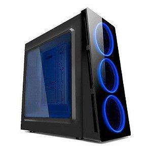 GABINETE S/ BAIA EXTERNA HTX906L06S GAMER S/ FONTE COM ACRILICO LED AZUL PIXXO