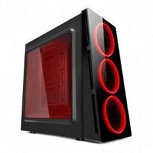 GABINETE S/ BAIA EXTERNA HTX906E06S GAMER S/ FONTE COM ACRILICO LED VERMELHO PIXXO