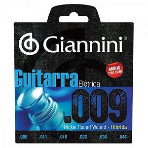 Encordoamento Para Guitarra GEEGSTH9 Série Híbrida 0.09 GIANNINI