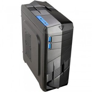 GABINETE 2 BAIAS BG-023 S/ FONTE USB 3.0 PRETO/AZUL BLUECASE