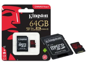 CARTAO DE MEMORIA CLASSE 10 KINGSTON SDCR/64GB MICRO SDXC 64GB 100R/80W UHS-I U3 V30 CANVAS REACT