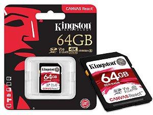 CARTAO DE MEMORIA CLASSE 10 KINGSTON SDR/64GB SDXC 64GB 100R/80W UHS-I U3 V30 CANVAS REACT