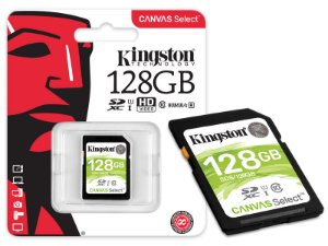 CARTAO DE MEMORIA CLASSE 10 KINGSTON SDS/128GB SDXC 128GB 80R/10W UHS-I U1 CANVAS SELECT