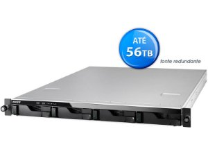 SISTEMA DE BACKUP NAS ASUSTOR AS6204RD INTEL QUAD CORE J3160 1,6GHZ 4GB DDR3 RACK 1U 4 BAIAS