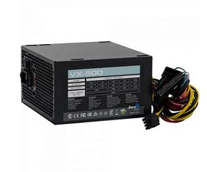 FONTE ATX 500W REAL 20/24 PINOS VX-500 EN53176 3*SATA 3* IDE S/CABO AEROCOOL