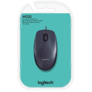 MOUSE USB M100 1000 DPI OPTICO 3 BOTOES COM SCROLL PRETO LOGITECH