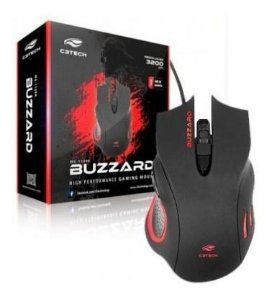 MOUSE USB MG-110BK BUZZARD 3200DPI GAMER 6 BOTÕES PRETO C3TECH