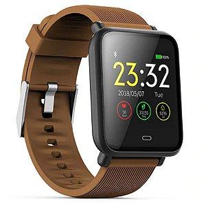 Relógio Smartwatch Inteligente Q9 Fitness Batimento Cardiaco PULSEIRA MARRON