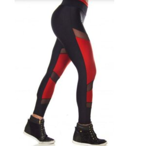 Calça Legging Feminina Em Tecido Metalico e Tule