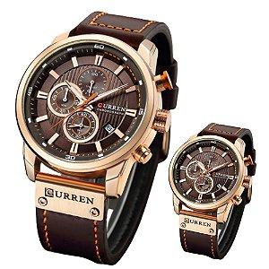 Relógio Curren 8291 Quartz Prova D`Agua pulseira em couro