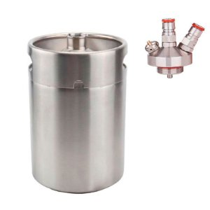 Barril Growler Keg 5 Litros + Saída De Post Mix Ball Lock.