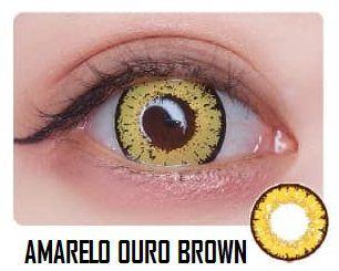 -SEM GRAU- LENTES ARTÍSTICAS ESPECIAIS - STAR AMARELO OURO BROWN