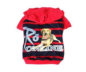 Camisa listrada vermelho e azul com capuz