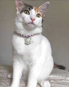 Colar Pérola com prata para Gatos
