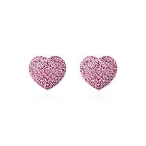 Brinco Ponteira Coração Semi Joia Folheado 18k - Rosa