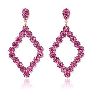 Brinco Triangular Luxo Semi Joia Folheado 18k - Rosa