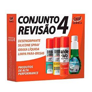 Conjunto Revisão 4 - Desengripante, Silicone Spray, Graxa Líquida e Limpa Para-Brisas - Orbi
