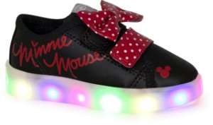 TÊNIS DISNEY MINNIE LIGHT LED PRETO E ROSA