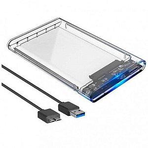 """Case Para HD Externo Transparente USB 3.0 Transmissão 6Gbps Sata 2.5"""" HD ou SSD Exbom"""
