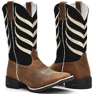 ac79a146f8f5a bota texana country masculina cano médio com bordado cabeça de boi bico  quadrado couro de boi