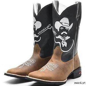 f919377408 bota texana country masculin cano médio bordado Tião Carreiro bico quadrado  solado em borracha (outras