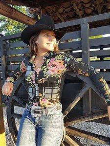 75139ce106 Camisas Body Country Feminino Cowgirl Manga Longa Estampado Com Cavalinhos  Coloridos fundo Azul Safira ou Preto
