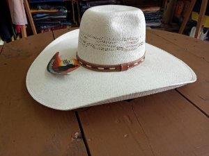 Chapéu Aba 13 copa meio alta Sibu Companhy palha cor branco Tamanho P